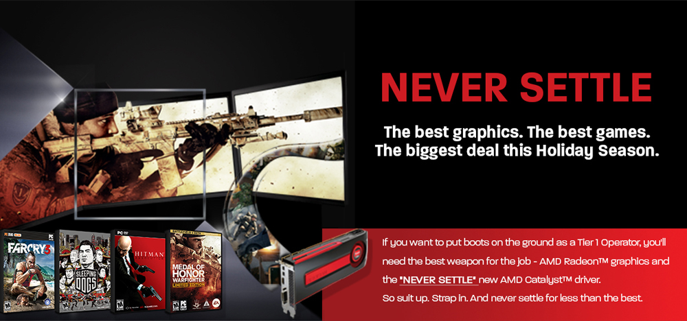 "AMD's Ongoing War With nVidia: ""Never Settle"" Bundle"