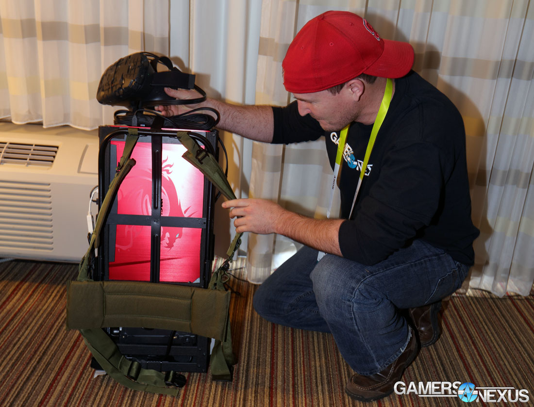 Diy laptop backpack - Intel Had Two Main Virtual Reality Setups The First Was Outfitted With An Msi Gt 72 Dominator Pro Sporting An Nvidia Gtx 980 And Oculus Rift Headset