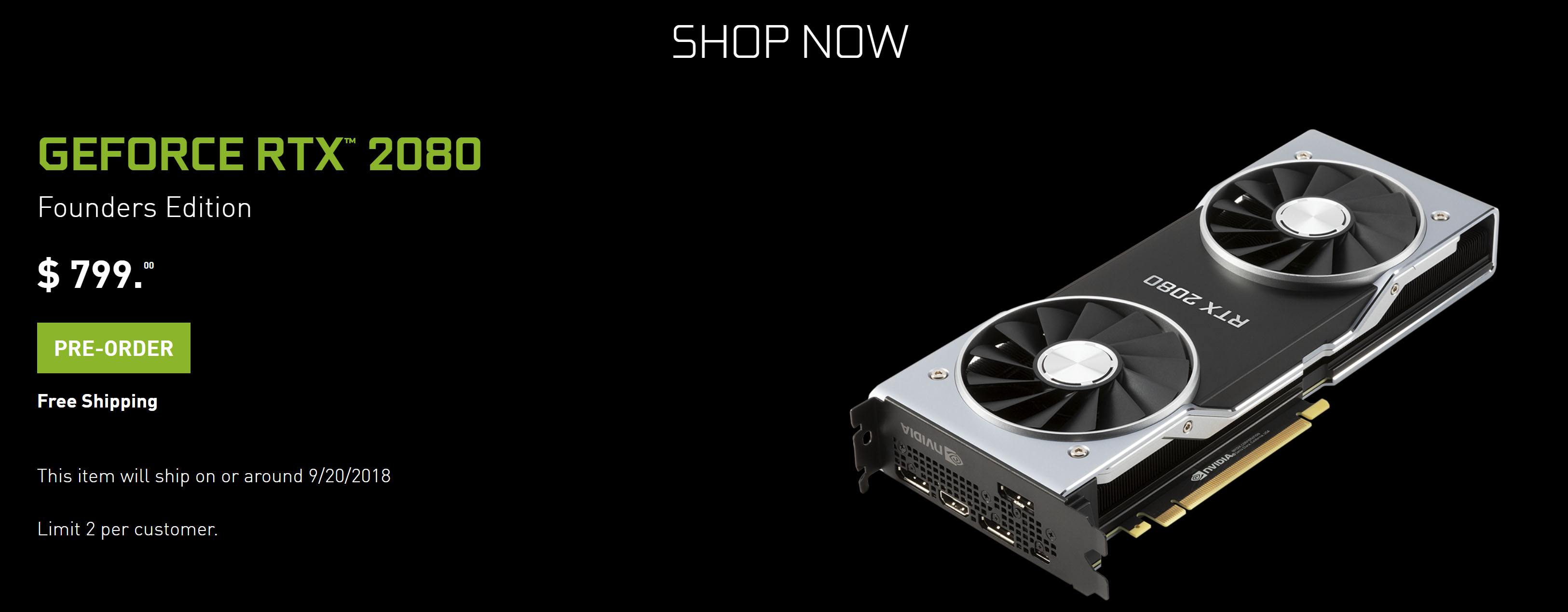 Official NVIDIA RTX 2080 Ti, 2080, & 2070 Specs, Price